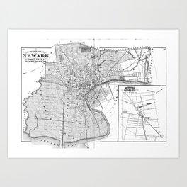Vintage Map of Newark NJ (1872) BW Art Print