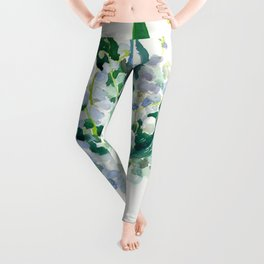 Lilies of the Valley, floral bouquet art,design spring flowers turquoise green white sky blue floral Leggings