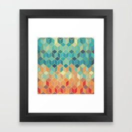 Colorful Squares with Gold - Friendly Colors and Marble Texture Framed Art Print