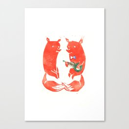 Mister Fox in love Canvas Print