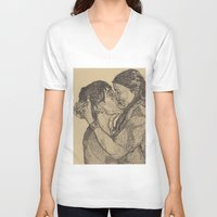 lovers V-neck T-shirts featuring Lovers by Paxelart