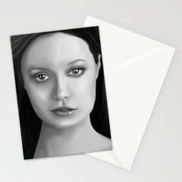 Summer Glau - The girl with the beautiful face B&W Stationery Cards