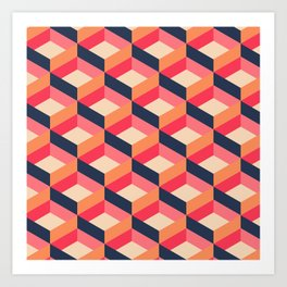 Retro Geo - Navy & Pink Art Print