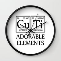periodic table Wall Clocks featuring CUTI Adorable Elements Periodic Table by raineon