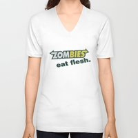 in the flesh V-neck T-shirts featuring Zombie Eat flesh by Wood-n-Images