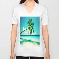 palms V-neck T-shirts featuring Palms by Sankakkei SS