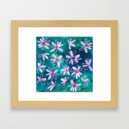 Daisy Flowers | Whimsical Watercolor Daisies on Cyan BlueTeal Framed Art Print