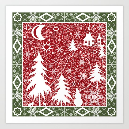 Winter. Christmas.  Art Print