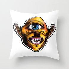 Happy Cycloptic Dog Eagle with a Stache Throw Pillow