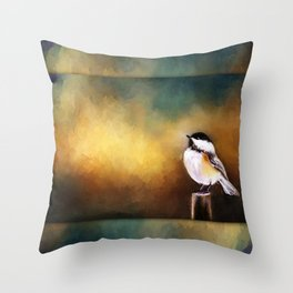 Chickadee in Morning Prayer Throw Pillow