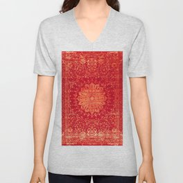Geometric Orange Oriental Vintage Traditional Moroccan Mandala Unisex V-Neck