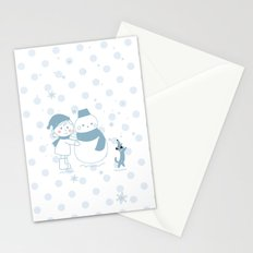 Happy snowman and a dog Stationery Cards