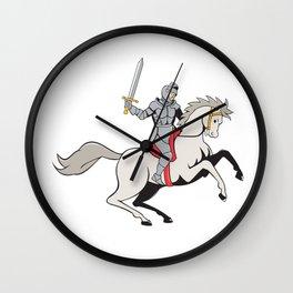 Knight Riding Horse Sword Cartoon Wall Clock
