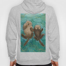 Otters Holding Paws, Floating in Emerald Waters Hoody