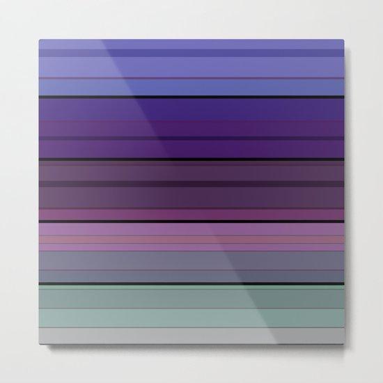 Black blue purple pattern striped . Metal Print