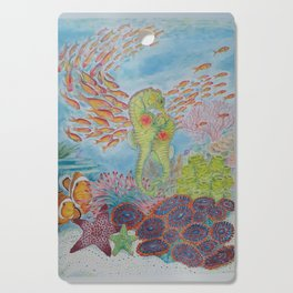 Happy Seahorse Family and Ocean Friends Cutting Board
