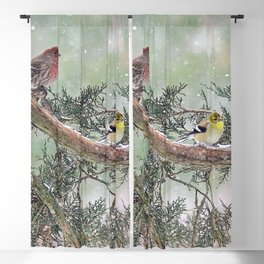 Two Finches in a Snowstorm Blackout Curtain