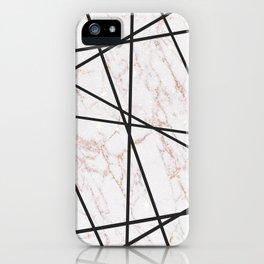 Geometrical black gold faux glitter white marble iPhone Case