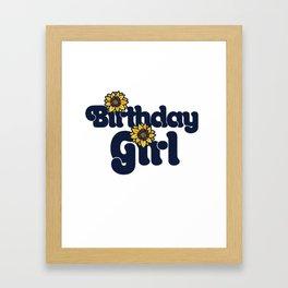 Birthday Girl Sunflower Birthday Party Framed Art Print