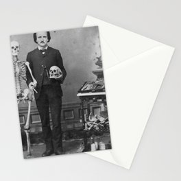 Edgar Allan Poe with Skull and Skeleton macabre black and white photograph Stationery Cards