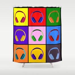 Pop Art Headphones Shower Curtain