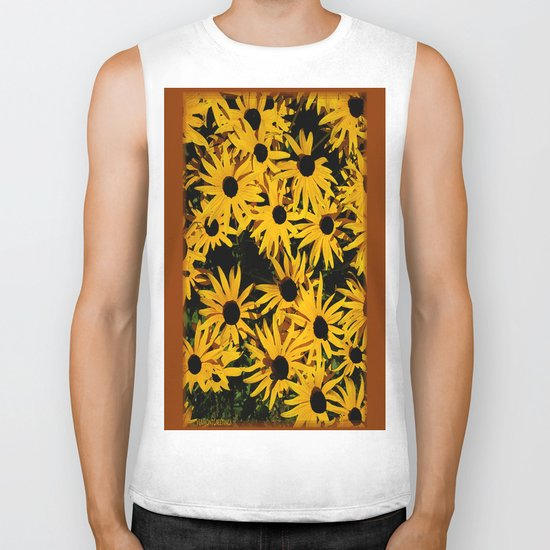 Sunshine Black Eyed Susan Flower Blossoms Biker Tank