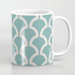Classic Fan or Scallop Pattern 488 Green and Beige Coffee Mug