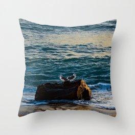 Driftwood Seagulls Couple Beach Seashore Seascape Throw Pillow