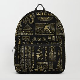 Egyptian hieroglyphs and deities gold on black Backpack