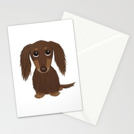 Longhaired Chocolate Dachshund Stationery Cards