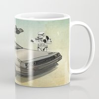 delorean Mugs featuring Lost, searching for the DeathStarr _ 2 Stormtrooopers in a DeLorean  by Vin Zzep