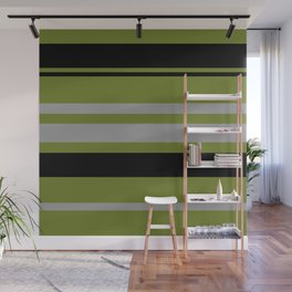 Green Gray and Black Stripes Wall Mural
