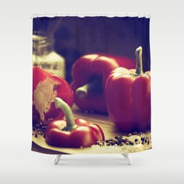 Fresh red peppers in retro still life Shower Curtain