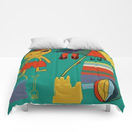 Cat pirate at the beach green Comforters