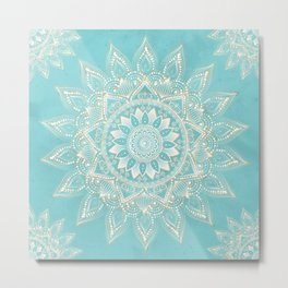 Elegant White Gold Mandala Sky Blue Design Metal Print