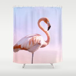 Flamingo and Unicorn Sky | Flamingo Photography | Ocean | Beach | Travel | Tropical | Landscape Shower Curtain