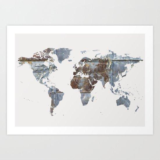 World Map(metal) Art Print