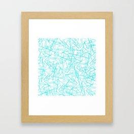 Ink Drawing Pattern, Teal Scribbles Framed Art Print