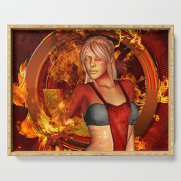 The awesome fire girl , fire on the background Serving Tray