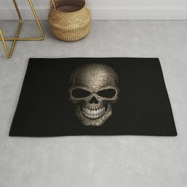 Decorated Dark Day of the Dead Sugar Skull Rug