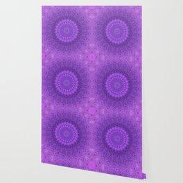 Sunflower Plum Boho Feather Pattern \\ Aesthetic Vintage Bohemian \\ Dark Violet Purple Color Scheme Wallpaper