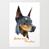 doberman Art Prints featuring Doberman by Det Tidkun