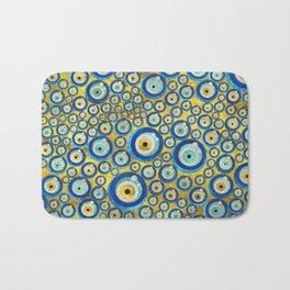 Greek Blue Glass Evil Eye Amulet Pattern Bath Mat