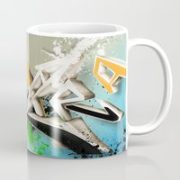 grafitti Mugs featuring Extra grafitti 3d abstract design by sleepwalkerMTS