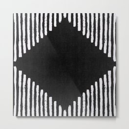 Diamond Stripe Geometric Block Print in Black and White Metal Print