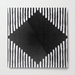 Diamond Stripe Geometric Block Print in Black and White Metal Print