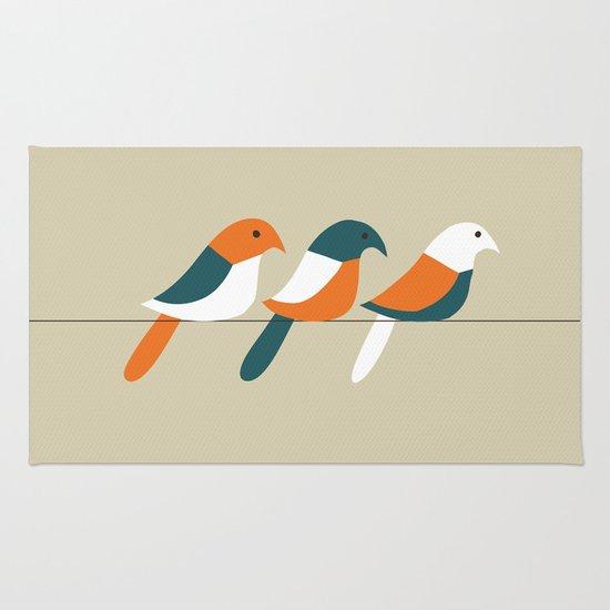 Birds on wire Rug