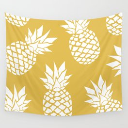 Summer, Tropical, Pineapples, Yellow Wall Tapestry