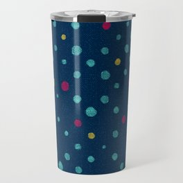 LOTS OF DOTS / prussian blue / turquoise green / deep red / yellow Travel Mug