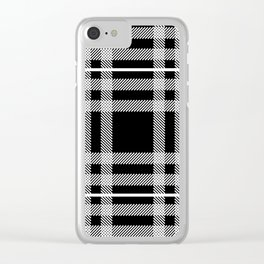 Black and White Plaid Clear iPhone Case